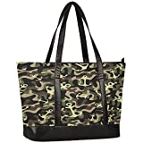 Laptop Tote Bag for Women,Anchor on Camouflage Military Large Capacity Womens Work Tote Bag,Shoulder...