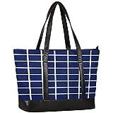 Laptop Tote Bag for Women,Blue Grid Large Capacity Womens Work Tote Bag,Shoulder Bag Messenger Bag...