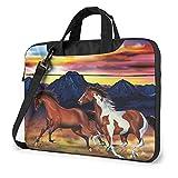 Laptop Shoulder Bag Running Horses Printed Laptop Case Handbag Shoulder Tote Bag Travel Briefcase 14...