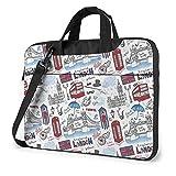 Laptop Shoulder Bag London Printed Laptop Case Handbag Shoulder Tote Bag Travel Briefcase 14 Inch