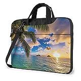 Waterproof Laptop Shoulder Messenger Bag Tropical Hawaii Palm Tree Ocean Sea Sunset Printed Case...
