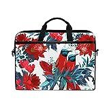 JUAMA Tropical Birds Flowers Leaves Laptop Bag 15 Inch Tablet Carring Case Business Briefcase...