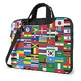 World Flags Laptop Shoulder Messenger Bag Shockproof Laptop Sleeve Case Notebook Briefcase Business...