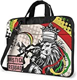 Rasta Lion Jamaican Reggae Crown Laptop Bag, 14 inch Classic Slim Briefcase with Crossbody Shoulder...