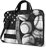 American Baseball Flag Black White Laptop Bag, 15.6 inch Laptop Shoulder Bag Briefcase Office Bag...